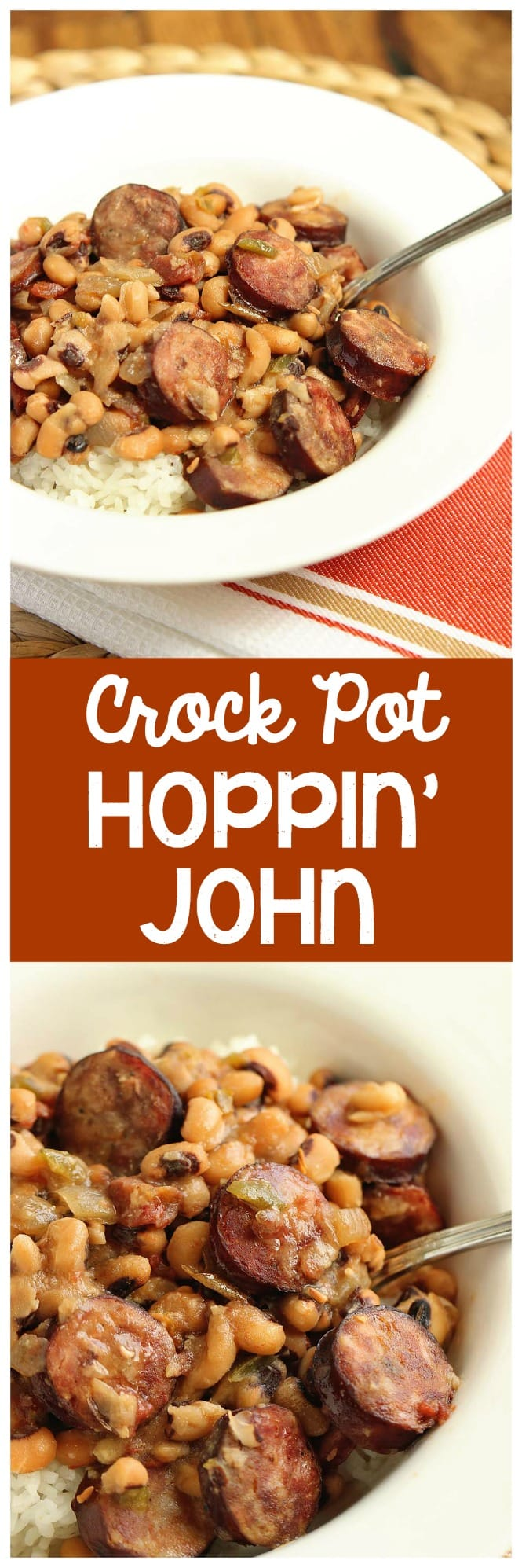 Crockpot Hoppin' John - This slow cooker meal uses only a few ingredients and couldn't be easier!