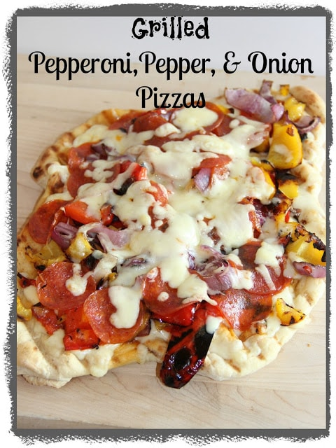 Grilled Pepperoni, Pepper and Onion Pizzas