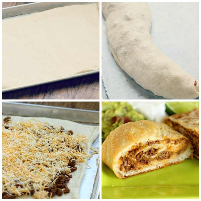 Easy Taco Calzones - A quick and easy weeknight dinner idea using refrigerated pizza dough, taco ground beef filling, and cheese! It's a super kid-friendly meal idea!