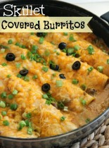 Skillet Covered Burritos - An easy one pot weeknight dinner idea filled with stuffed cheesy enchiladas surrounded in delicious chili gravy.