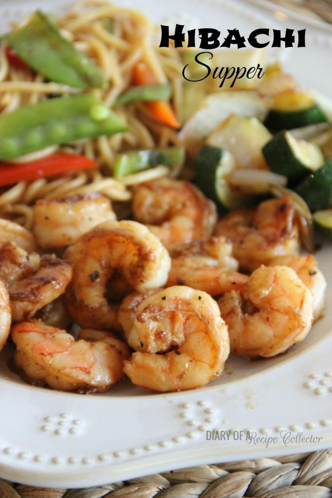 Hibachi Supper with Shrimp, Lo-Mein, Veggies