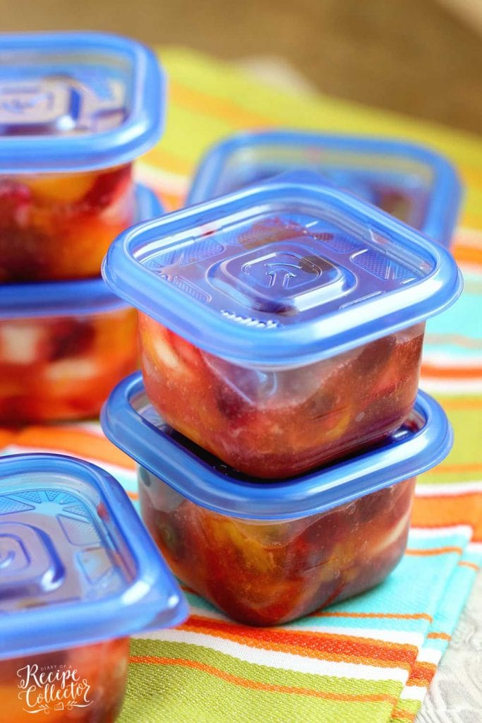 Peach Pie Filling Fruit Salad - This easy dish is made with fresh fruit, frozen strawberries, and mixed with a can of peach pie filling. It's perfect for school lunches and freezer-friendly too!