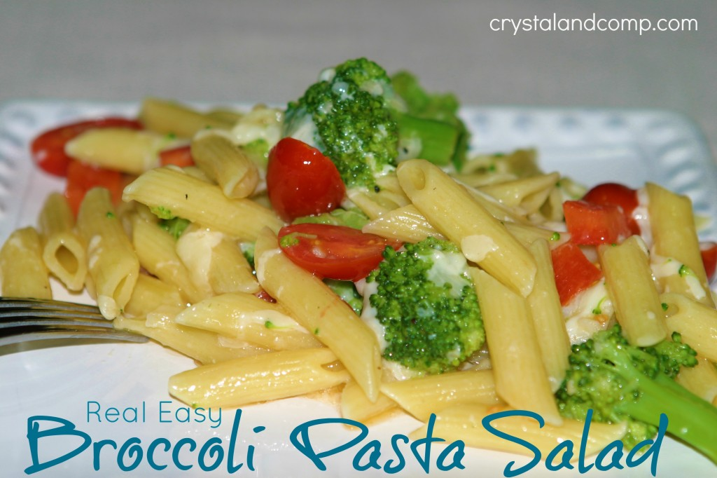 Real Easy Broccoli Pasta Salad by Crystal and Co