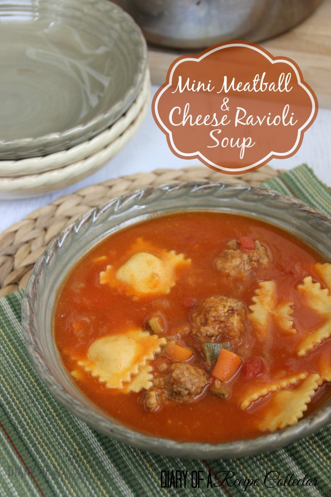 Mini Meatball and Cheese Ravioli Soup