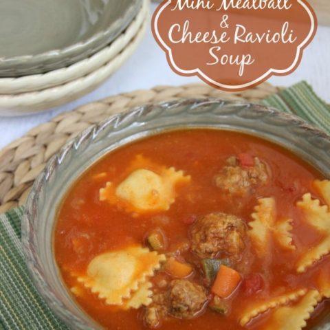Mini Meatball and Cheese Ravioli Soup