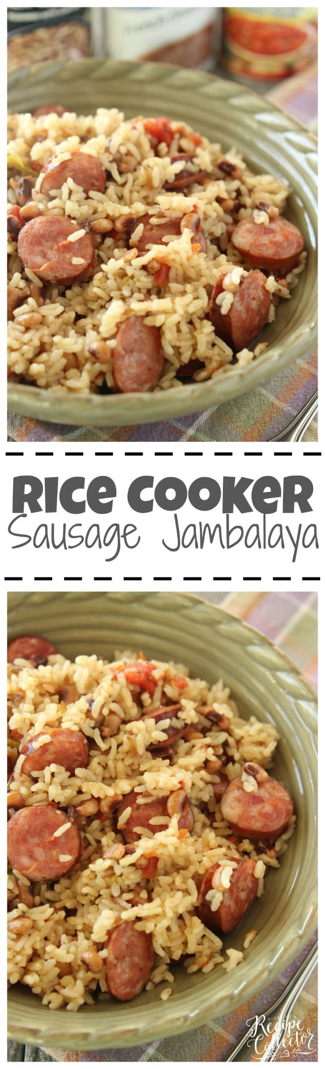 Rice Cooker Sausage Jambalaya - An easy one pot rice dish filled with sausage and black-eyed peas. It only has 5 ingredients!