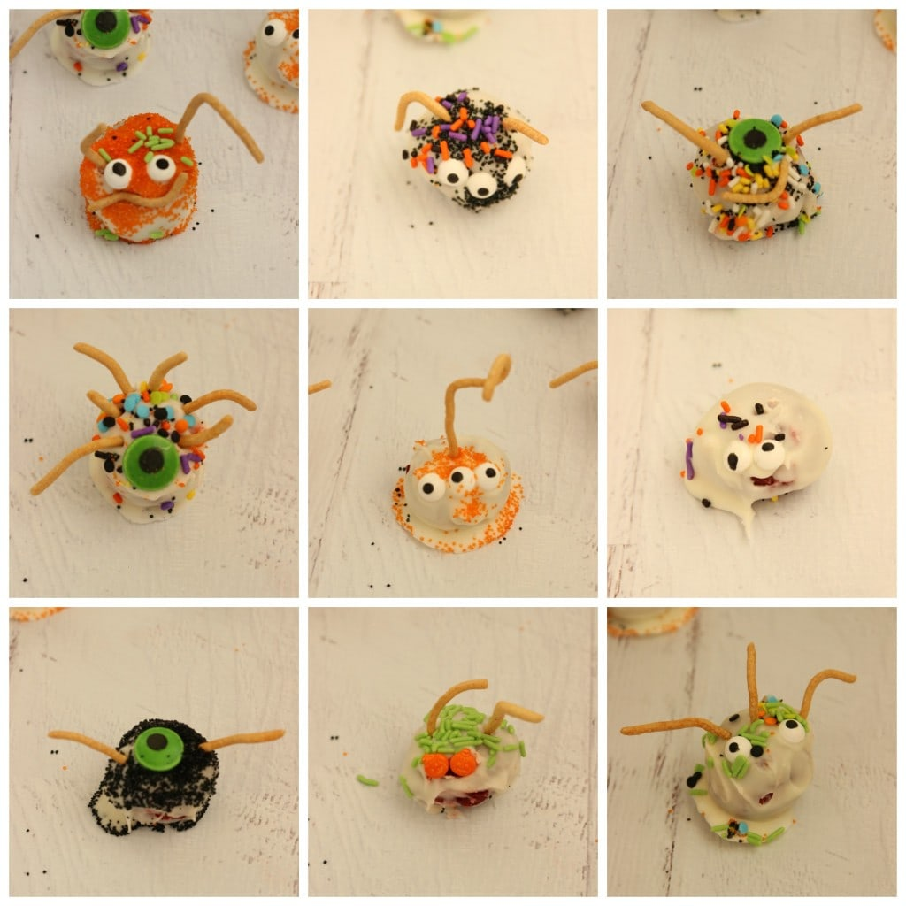 Monster Cake Balls - Funny little monster cake balls make a perfect Halloween craft and treat for your little monsters!