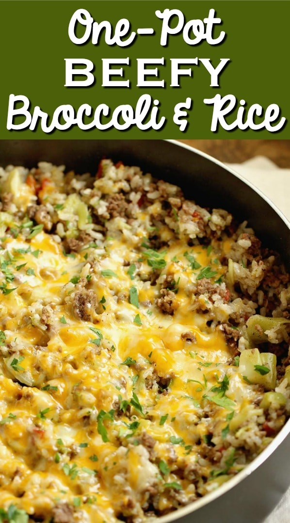 One-Pot Beefy Broccoli Rice - A quick, easy, and hearty one-pot supper filled with ground beef, broccoli, rice and topped with cheese.