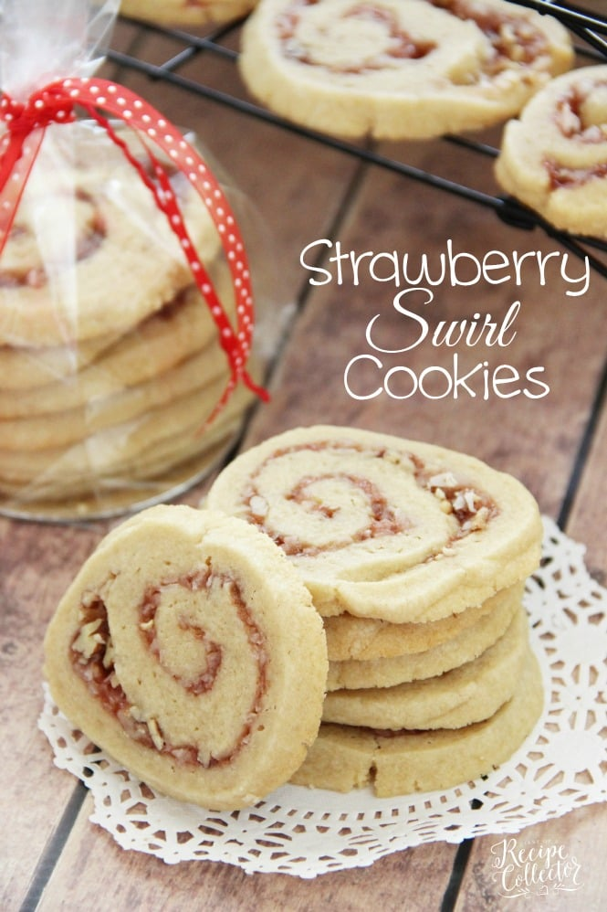 Strawberry Swirl Cookies - An easy sugar cookie swirled with strawberry jam and pecans. It makes a great Christmas cookie!