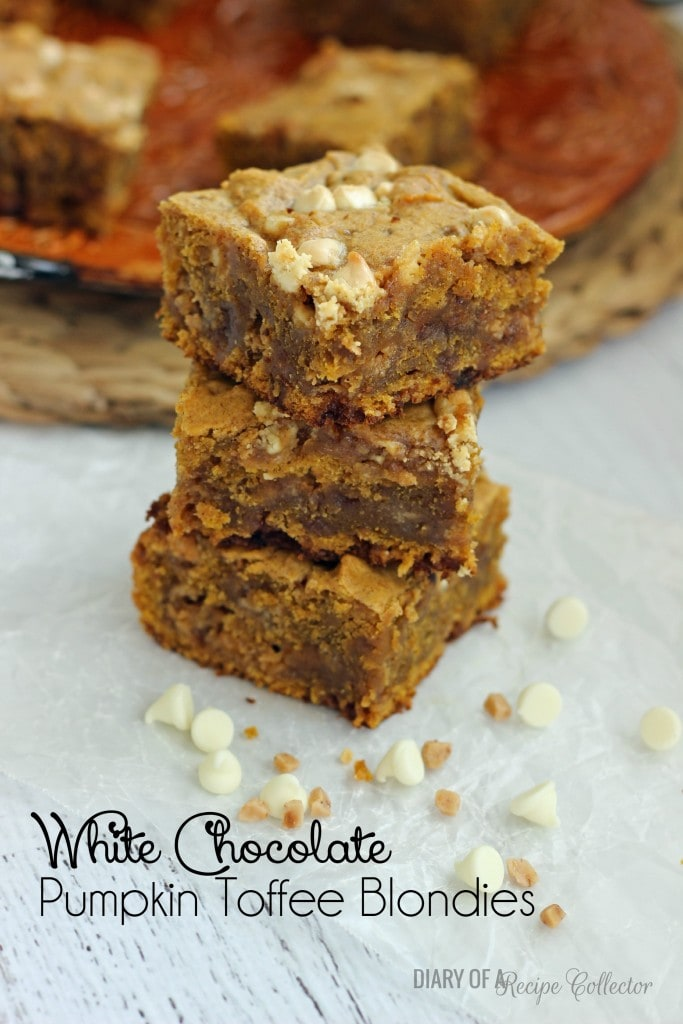 White Chocolate Pumpkin Toffee Blondies | Diary of a Recipe Collector