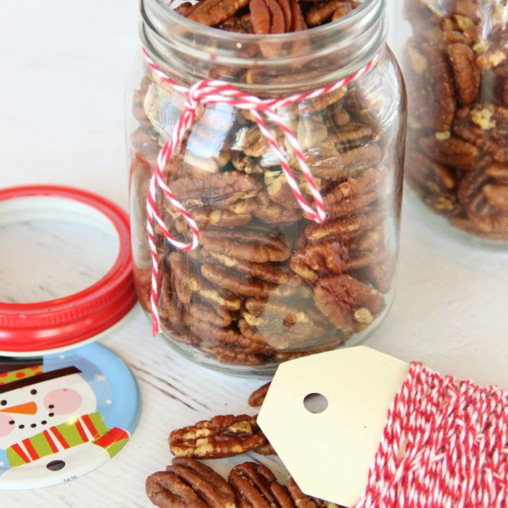 Pecans roasted in butter and a mixture of spices and brown sugar are perfect gifts!