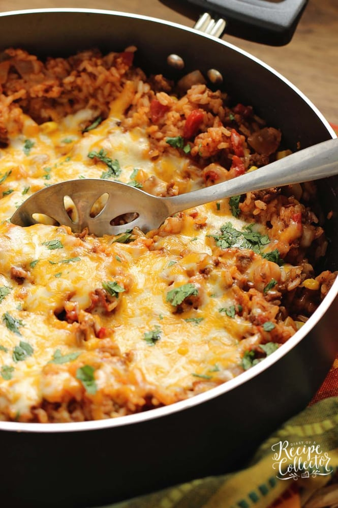 One-Pot Mexi Beef & Corn Bake - This is a super easy one-pot dish filled with ground beef, tomatoes, corn, rice, and Mexican spices.