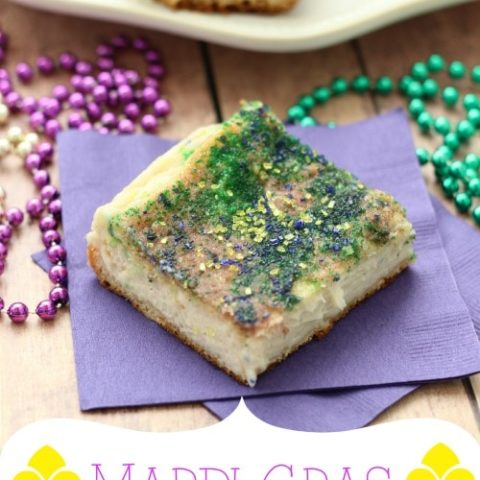 Mardi Gras Cheesecake Squares - Diary of a Recipe Collector