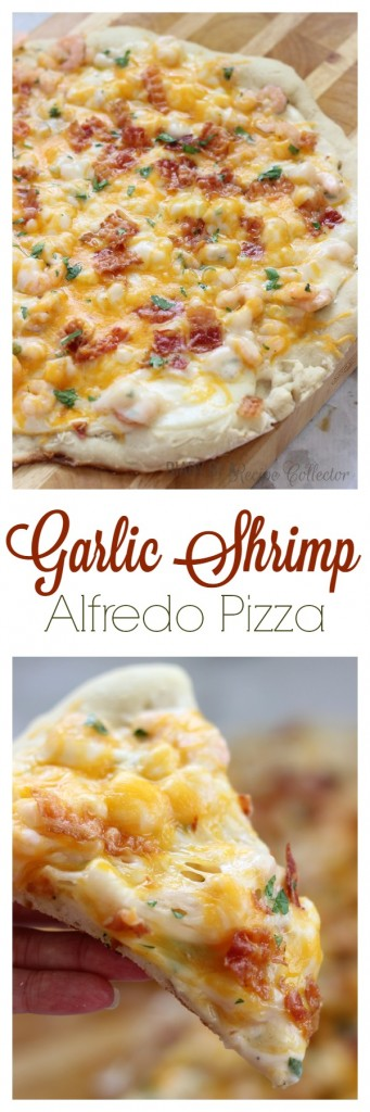 Garlic Shrimp Alfredo Pizza