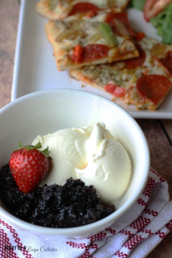 Mocha Hot Fudge Pudding Cake with Dreyer's Frozen Vanilla Custard and Digiorno Thin Crust Supreme Speciale Pizza
