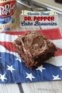 Dr. Pepper Vanilla Float Cake Brownies topped with a rich chocolate Vanilla Float Dr. Pepper Icing