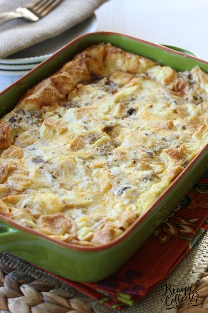 Sausage, Egg, & Cheese Croissant Bake - A perfect all-in-one breakfast casserole filled with croissants, breakfast sausage, eggs, and cheese.  And the best part is you make it ahead!!