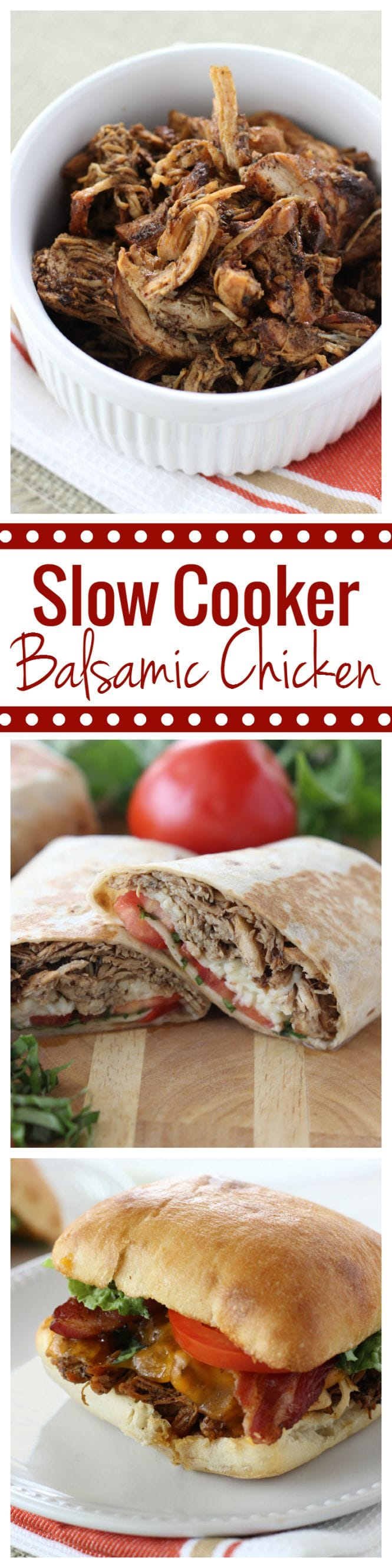Slow Cooker Balsamic Chicken - Perfect for wraps and sandwiches! Great recipe for busy weeknights!