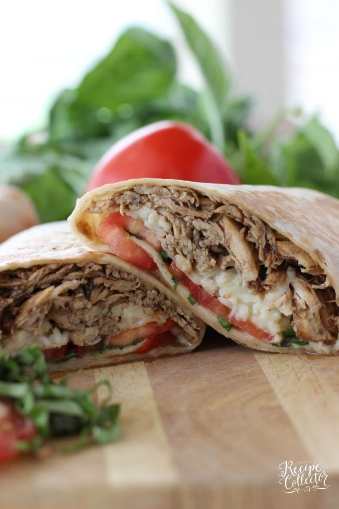 Hot-Pressed Chicken Caprese Wraps - Made with Slow Cooker Balsamic Chicken!!