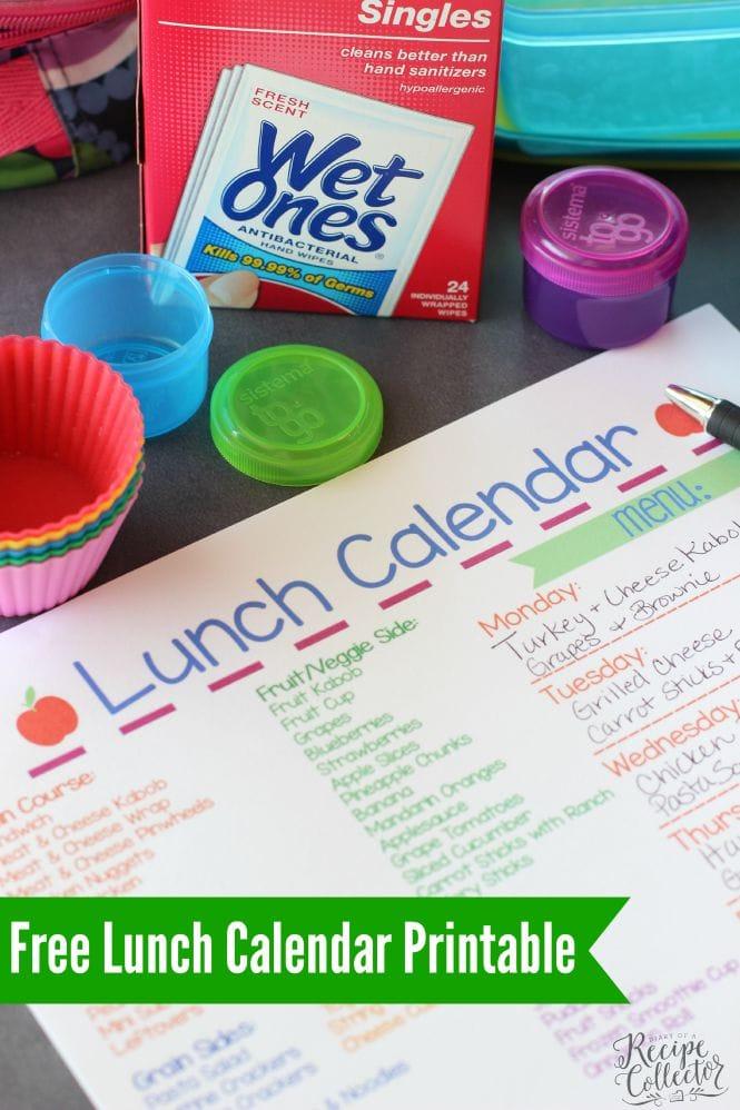 Free Lunch Calendar Printable