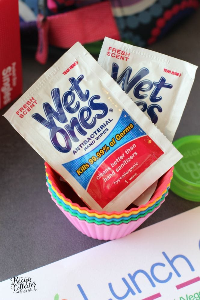 Wet Ones Singles are perfect for lunch boxes.