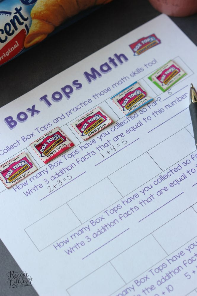 Box Tops Math Printable - A fun and educational way to collect Box Tops and help your school!