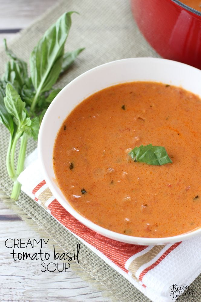 Easy Creamy Tomato Basil Soup - A quick and easy recipe for such a comforting classic soup. It goes perfect with a sandwich for lunch or dinner.
