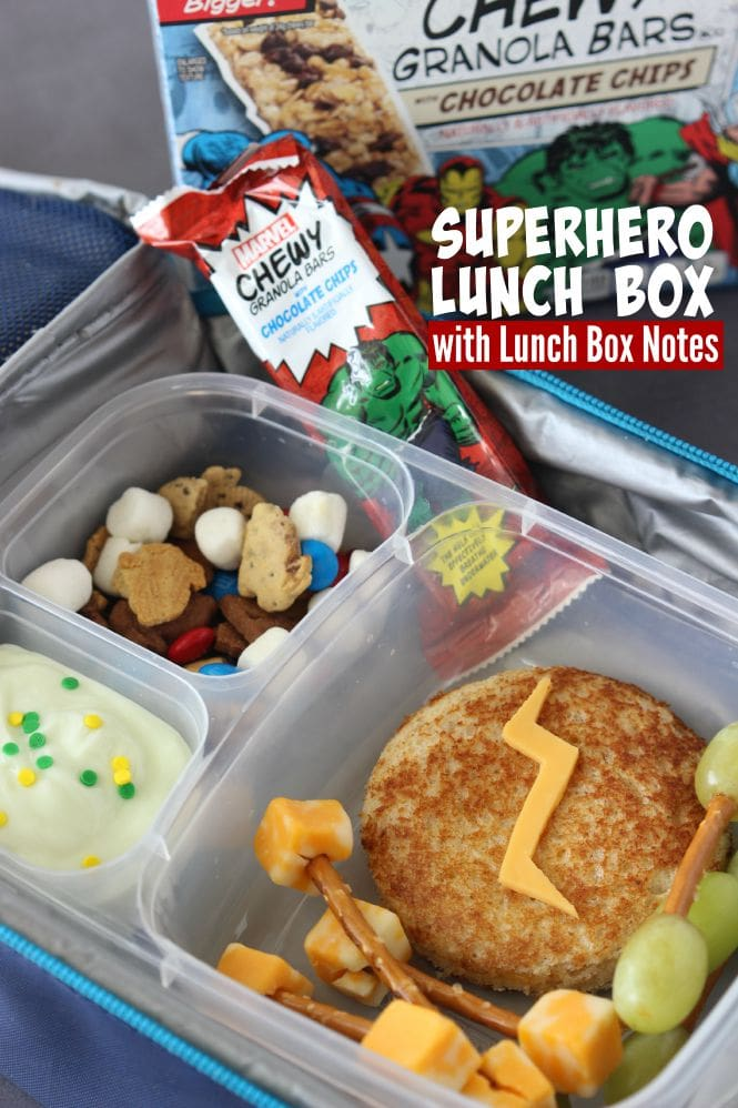 Superhero Lunch Box with Free Lunch Box Notes - A fun superhero-themed lunch box and you can print fun Superhero Lunch Box Notes.