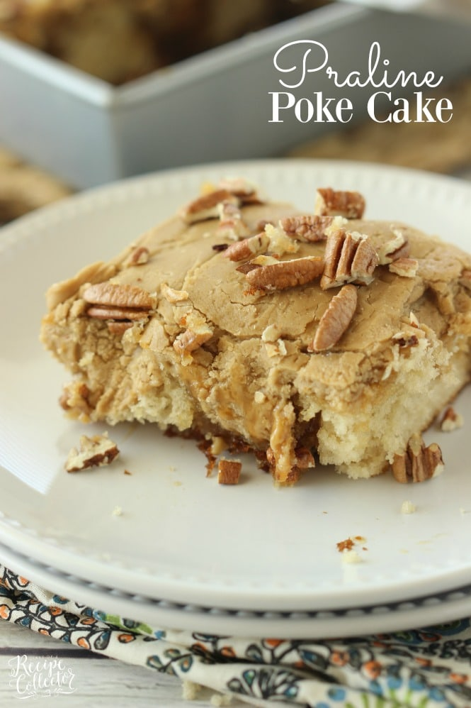 Praline Poke Cake - This butter pecan cake has the most delicious praline icing plus it's filled with caramel!
