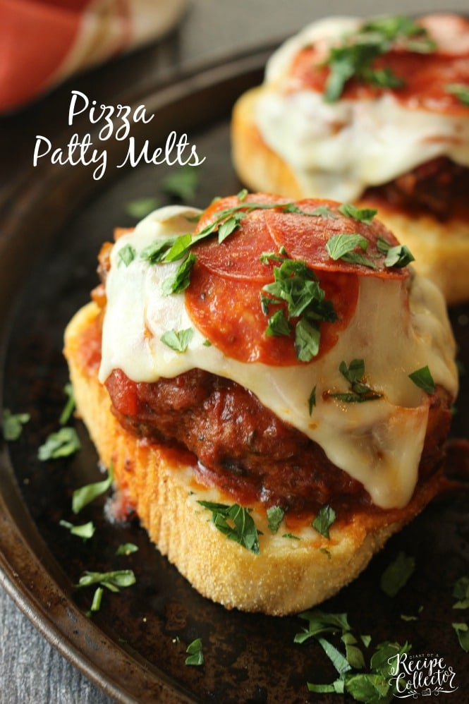 Pizza Patty Melts - Flavorful patty melts coated in sauce served atop a garlic toast and topped with pepperoni, mozzarella, and parsley. #BertolliTuscanTour #ad