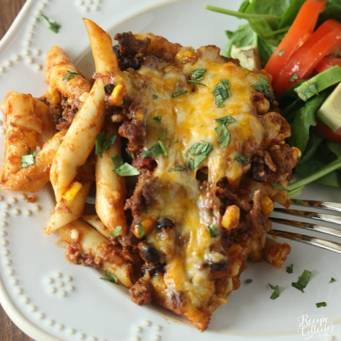 Mexican Baked Ziti - A comforting casserole filled with pasta, ground beef, cheese, Ragu sauce, black beans, and corn.