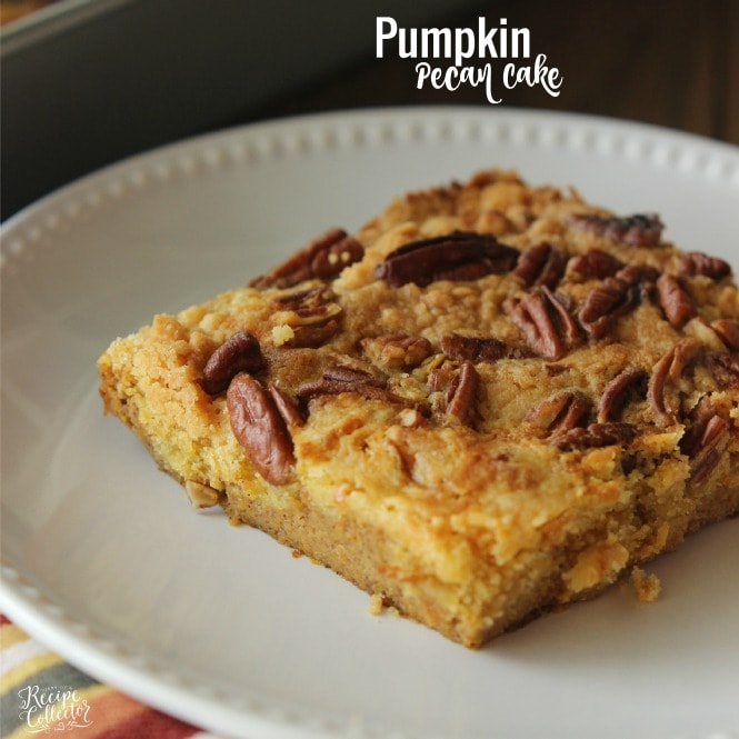 An easy pumpkin dessert with a delicious topping made using a box yellow cake mix!