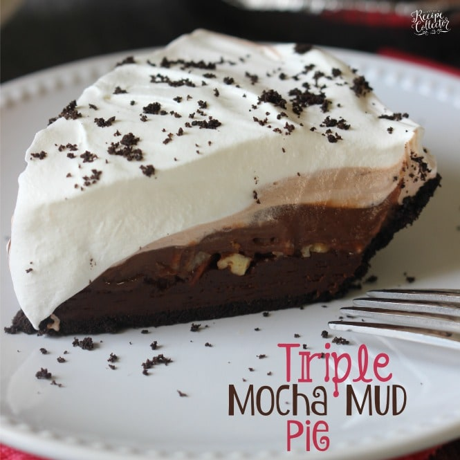 Triple Mocha Mud Pie - An EASY three layer chocolate pie with a delicious Oreo crust.