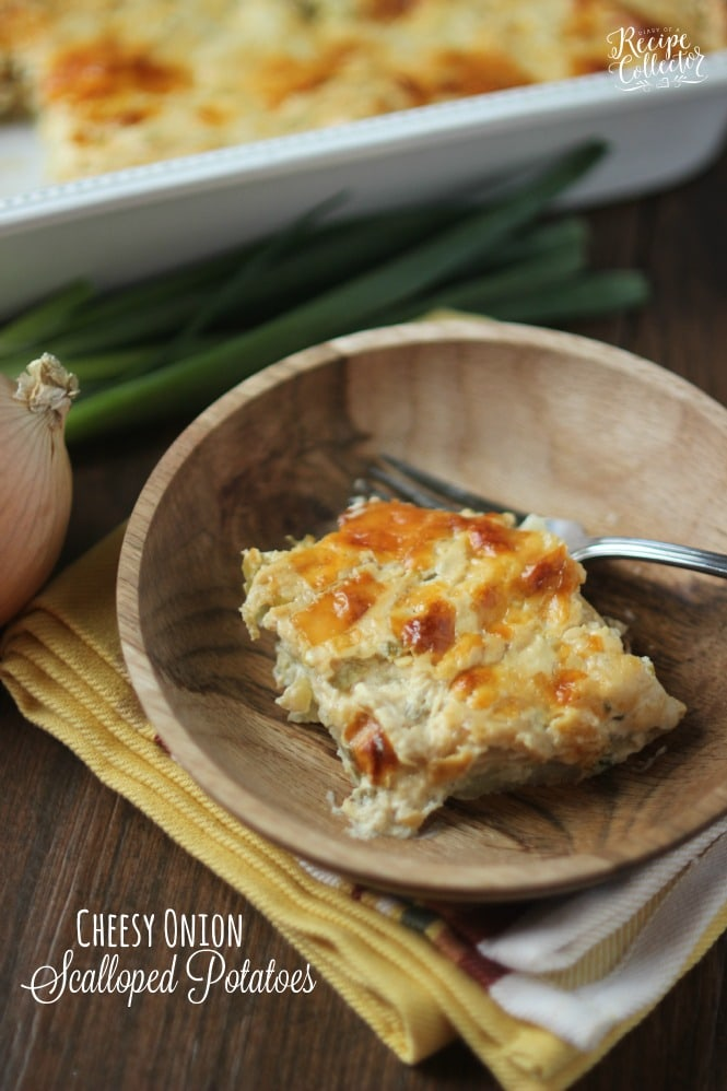 Cheesy Onion Scalloped Potatoes - Layers of thinly sliced potatoes in ...