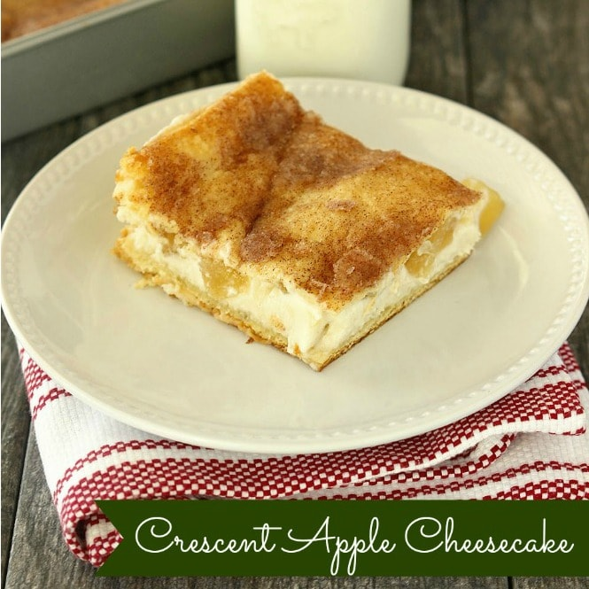 Crescent Apple Cheesecake -Refrigerated crescent rolls serve as a crust and are filled with cheesecake and apples, baked until golden, and sprinkled with cinnamon and sugar.