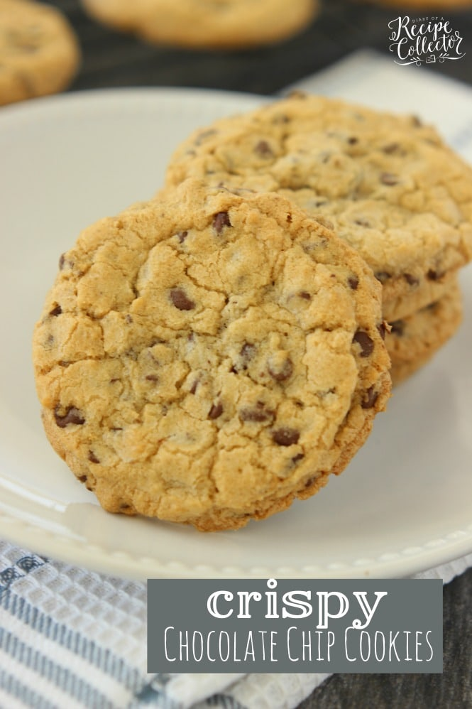 Crispy Chocolate Chip Cookies - The perfect crispy yet chewy cookie that is super quick and easy to make with no chilling of dough required!