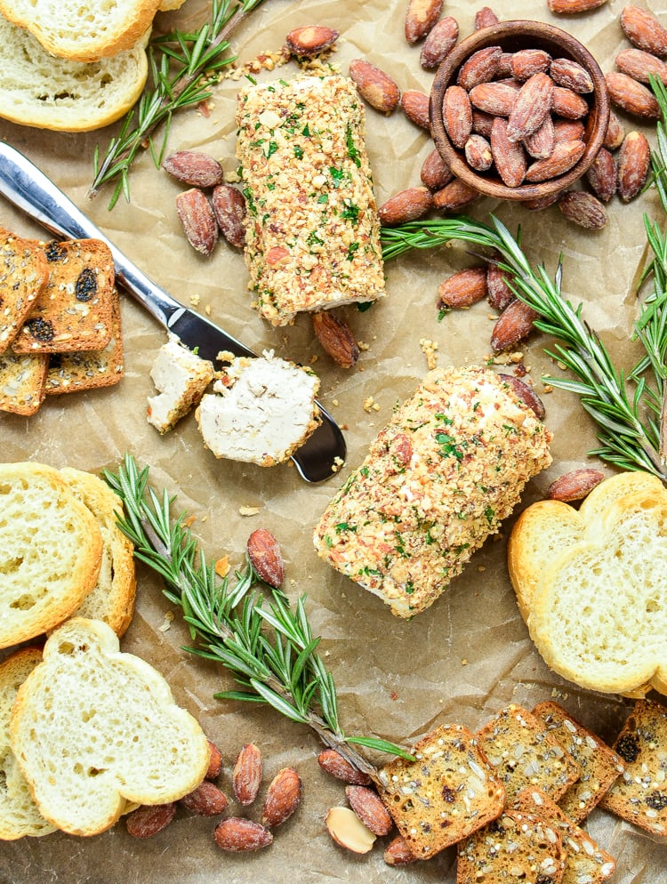 10 Holiday Appetizers for New Year's Eve - Almond and Herb Crusted Goat Cheese