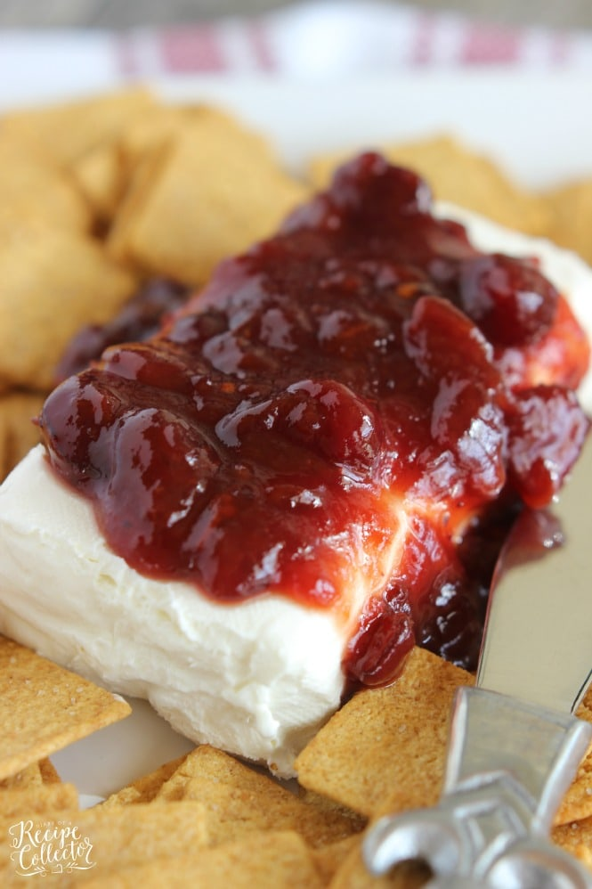 Cranberry Chipotle Cream Cheese - The smoky flavor of chipotle peppers mixed with sweetened cranberries served on top of cream cheese makes a great holiday appetizer served with crackers.