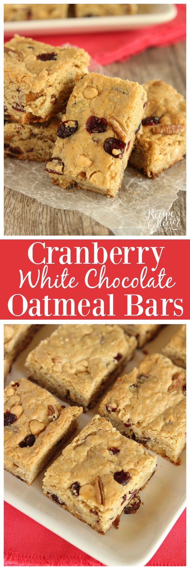 Cranberry White Chocolate Oatmeal Bars - A super easy cookie bar filled with dried cranberries, white chocolate chips, pecans, and oatmeal.