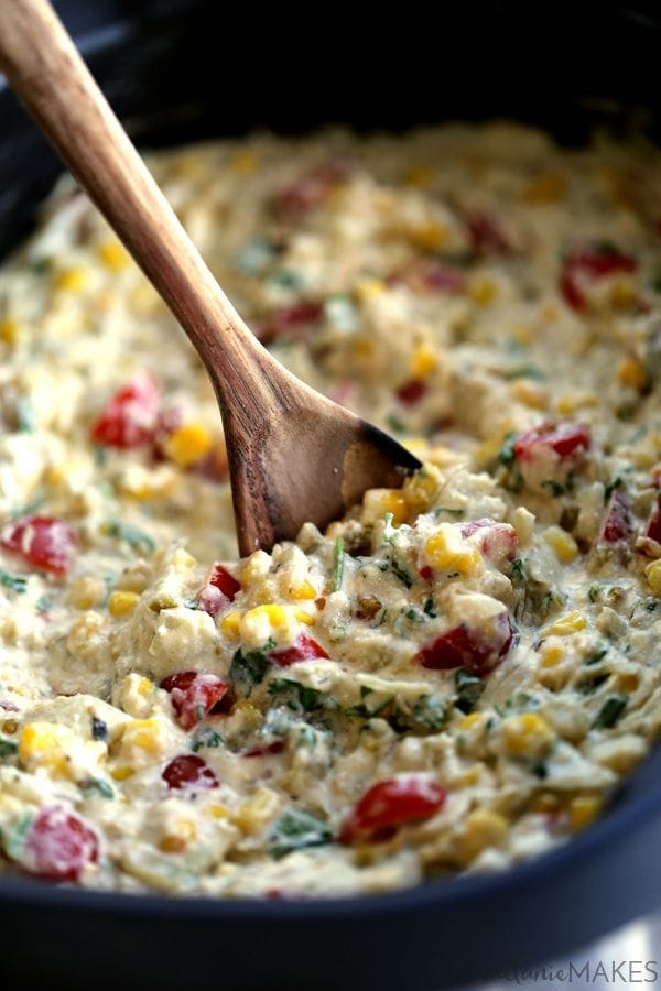 10 Holiday Appetizer Recipes for New Year's Eve - Slow Cooker Salsa Verde Corn Dip