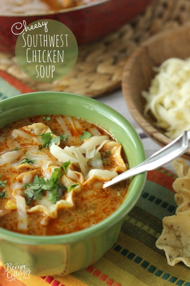Cheesy Chicken Tortilla Soup - Comforting soup filled with chicken, onions, peppers, black beans, corn, and finished off with a little cream to give it that extra little something!