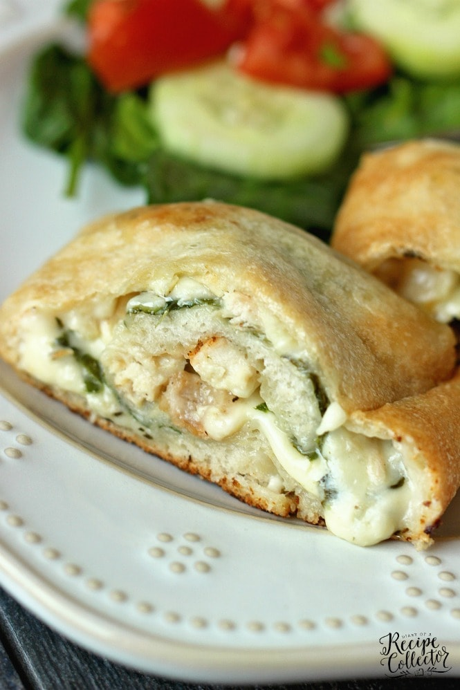Garlic Cream Chicken Calzone - Pizza dough stuffed and rolled up with grilled chicken, spinach, jack cheese, and a garlic cream sauce.