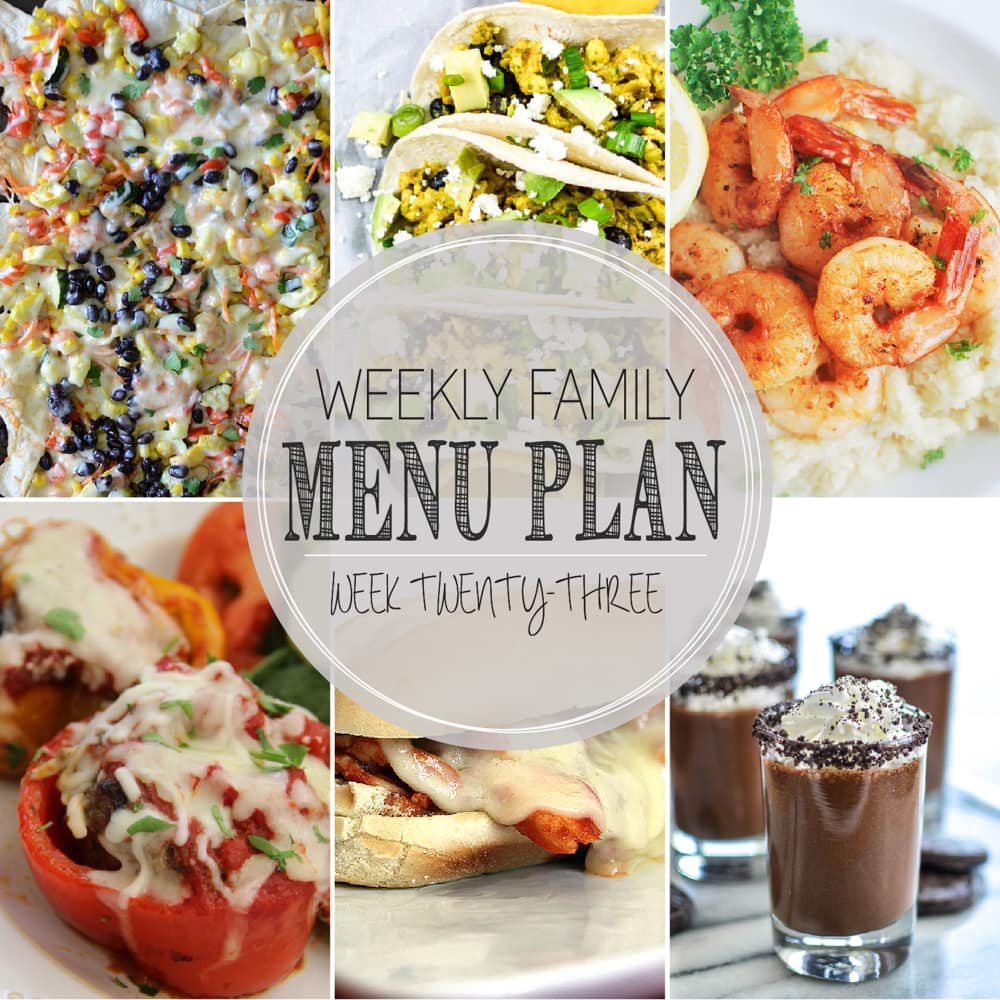 Weekly Family Meal Plan - Includes five weeknight meals, a breakfast, and a dessert idea!!
