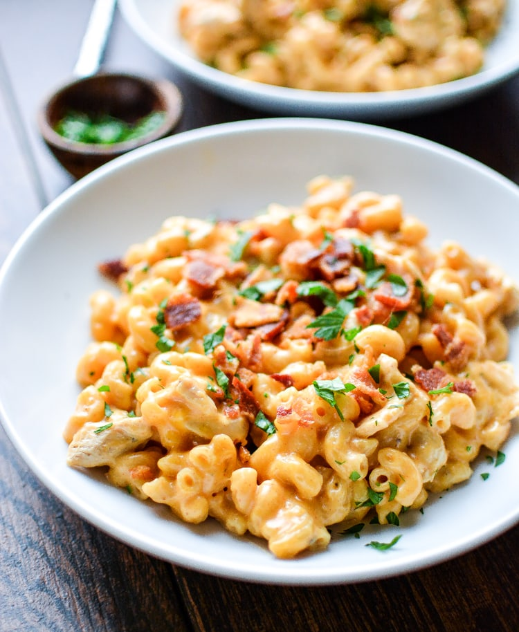 Stove Top Mac and Cheese with Bacon and Chicken