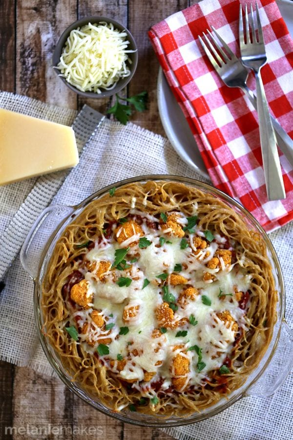 Weekly Family Meal Plan - Chicken Parmesan Spaghetti Pie