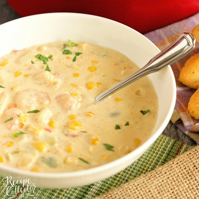 Creamy Shrimp & Corn Soup - A creamy Cajun-flavored soup filled with shrimp, corn, and potatoes. It's a great soup for company too!