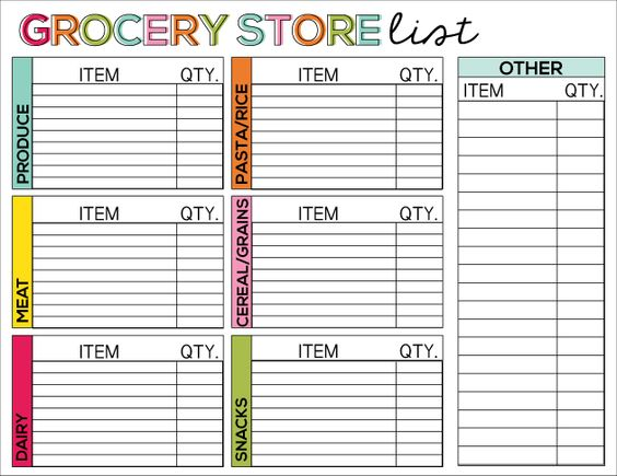 Pins I'm Loving - Grocery Store List Printable
