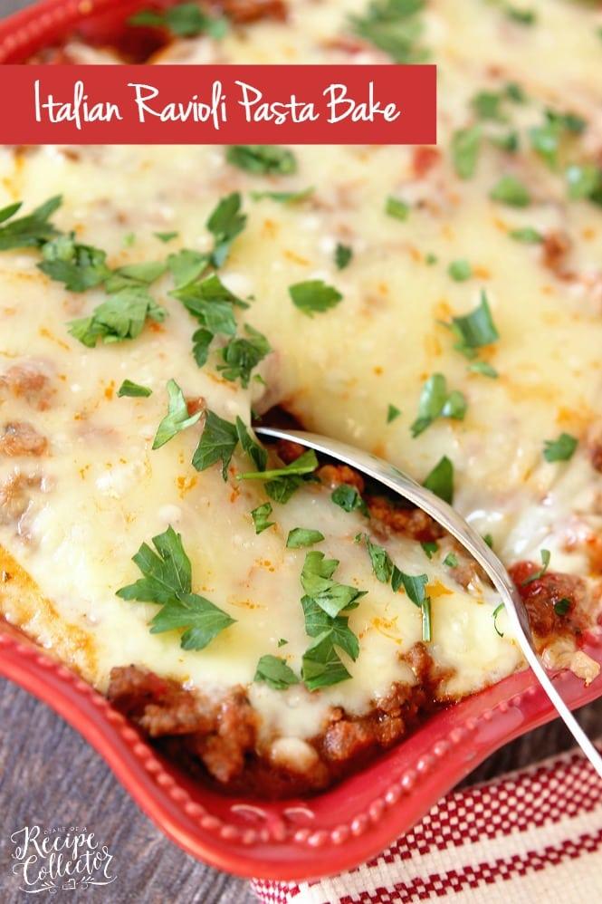Italian Ravioli Pasta Bake – Layers of meat sauce, cheese ravioli ...