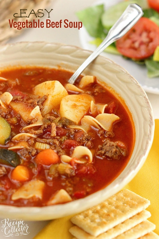 Easy Vegetable Beef Soup - A hearty comforting classic meal with ground beef.