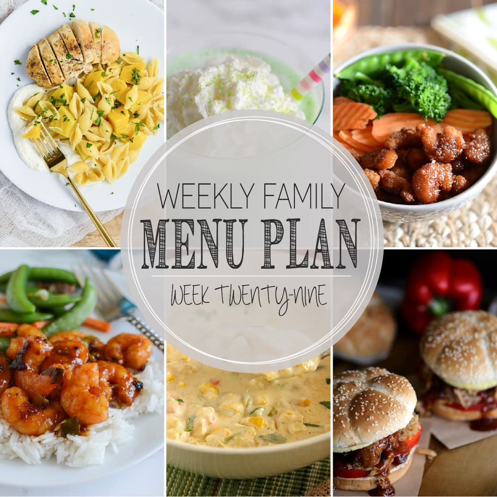 Weekly Family Meal Plan - Includes four weeknight meals, a soup, a breakfast, a dessert, and a snack idea!!